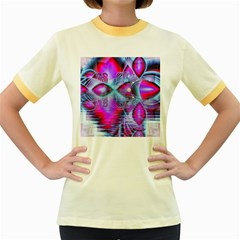 Crystal Northern Lights Palace, Abstract Ice  Women s Ringer T Shirt (colored)