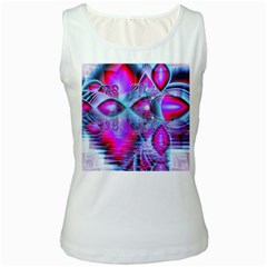 Crystal Northern Lights Palace, Abstract Ice  Women s Tank Top (white)