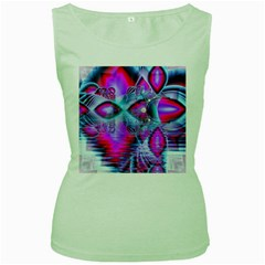 Crystal Northern Lights Palace, Abstract Ice  Women s Tank Top (Green)