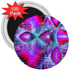 Crystal Northern Lights Palace, Abstract Ice  3  Button Magnet (100 pack)