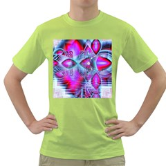 Crystal Northern Lights Palace, Abstract Ice  Men s T-shirt (Green)