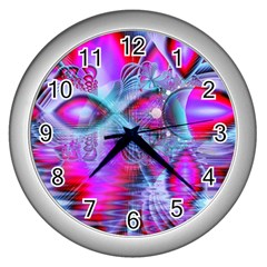 Crystal Northern Lights Palace, Abstract Ice  Wall Clock (Silver)