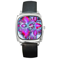 Crystal Northern Lights Palace, Abstract Ice  Square Leather Watch