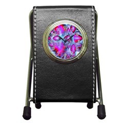 Crystal Northern Lights Palace, Abstract Ice  Stationery Holder Clock