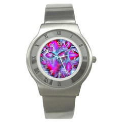 Crystal Northern Lights Palace, Abstract Ice  Stainless Steel Watch (Slim)