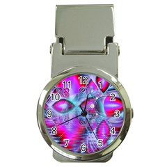 Crystal Northern Lights Palace, Abstract Ice  Money Clip With Watch