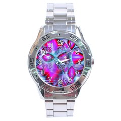 Crystal Northern Lights Palace, Abstract Ice  Stainless Steel Watch