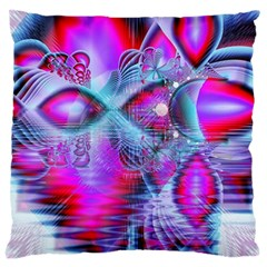 Crystal Northern Lights Palace, Abstract Ice  Large Cushion Case (single Sided)