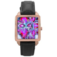Crystal Northern Lights Palace, Abstract Ice  Rose Gold Leather Watch