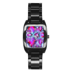 Crystal Northern Lights Palace, Abstract Ice  Stainless Steel Barrel Watch