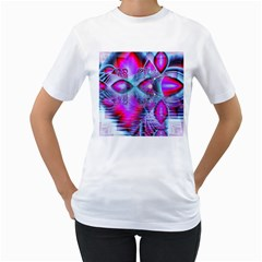 Crystal Northern Lights Palace, Abstract Ice  Women s T-Shirt (White)