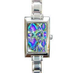 Abstract Peacock Celebration, Golden Violet Teal Rectangular Italian Charm Watch