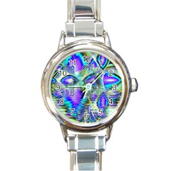 Abstract Peacock Celebration, Golden Violet Teal Round Italian Charm Watch