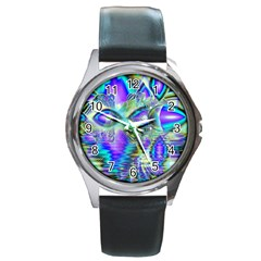Abstract Peacock Celebration, Golden Violet Teal Round Leather Watch (Silver Rim)