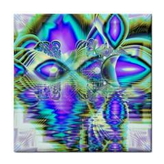 Abstract Peacock Celebration, Golden Violet Teal Ceramic Tile