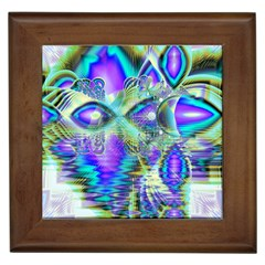 Abstract Peacock Celebration, Golden Violet Teal Framed Ceramic Tile