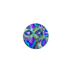 Abstract Peacock Celebration, Golden Violet Teal 1  Mini Button Magnet