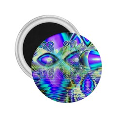 Abstract Peacock Celebration, Golden Violet Teal 2.25  Button Magnet