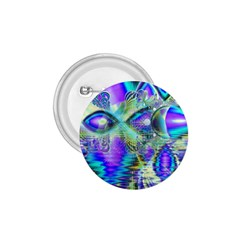 Abstract Peacock Celebration, Golden Violet Teal 1.75  Button