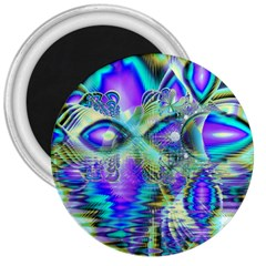 Abstract Peacock Celebration, Golden Violet Teal 3  Button Magnet