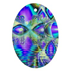Abstract Peacock Celebration, Golden Violet Teal Oval Ornament
