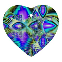 Abstract Peacock Celebration, Golden Violet Teal Heart Ornament