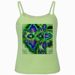 Abstract Peacock Celebration, Golden Violet Teal Green Spaghetti Tank