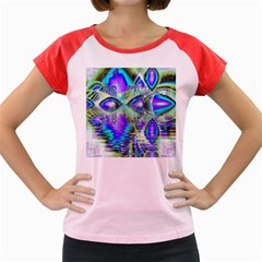 Abstract Peacock Celebration, Golden Violet Teal Women s Cap Sleeve T-Shirt (Colored)