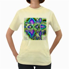 Abstract Peacock Celebration, Golden Violet Teal Women s T-shirt (Yellow)