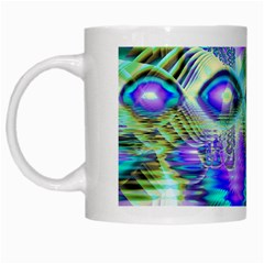 Abstract Peacock Celebration, Golden Violet Teal White Coffee Mug