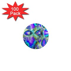 Abstract Peacock Celebration, Golden Violet Teal 1  Mini Button Magnet (100 pack)
