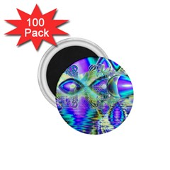 Abstract Peacock Celebration, Golden Violet Teal 1 75  Button Magnet (100 Pack)