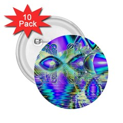 Abstract Peacock Celebration, Golden Violet Teal 2.25  Button (10 pack)