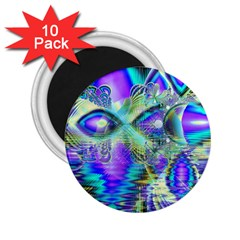 Abstract Peacock Celebration, Golden Violet Teal 2 25  Button Magnet (10 Pack)