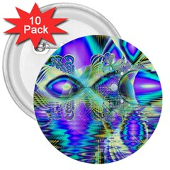 Abstract Peacock Celebration, Golden Violet Teal 3  Button (10 pack)