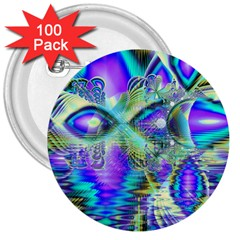 Abstract Peacock Celebration, Golden Violet Teal 3  Button (100 pack)