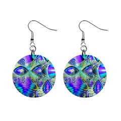 Abstract Peacock Celebration, Golden Violet Teal Mini Button Earrings