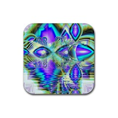 Abstract Peacock Celebration, Golden Violet Teal Drink Coasters 4 Pack (Square)