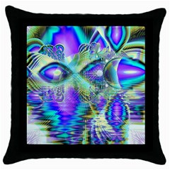 Abstract Peacock Celebration, Golden Violet Teal Black Throw Pillow Case