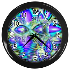 Abstract Peacock Celebration, Golden Violet Teal Wall Clock (black)