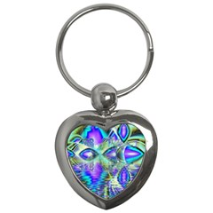 Abstract Peacock Celebration, Golden Violet Teal Key Chain (Heart)