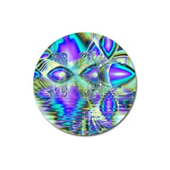 Abstract Peacock Celebration, Golden Violet Teal Magnet 3  (round)