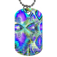 Abstract Peacock Celebration, Golden Violet Teal Dog Tag (One Sided)