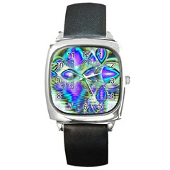 Abstract Peacock Celebration, Golden Violet Teal Square Leather Watch