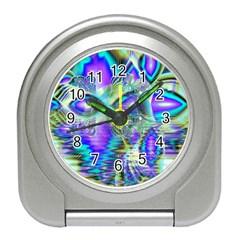 Abstract Peacock Celebration, Golden Violet Teal Desk Alarm Clock