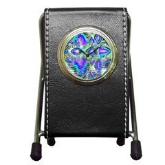 Abstract Peacock Celebration, Golden Violet Teal Stationery Holder Clock