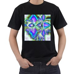 Abstract Peacock Celebration, Golden Violet Teal Men s Two Sided T-shirt (Black)