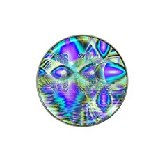 Abstract Peacock Celebration, Golden Violet Teal Golf Ball Marker (for Hat Clip)