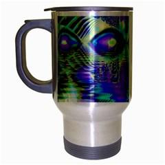 Abstract Peacock Celebration, Golden Violet Teal Travel Mug (Silver Gray)