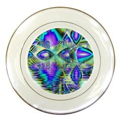 Abstract Peacock Celebration, Golden Violet Teal Porcelain Display Plate